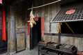 Dilapidated chinese dwelling house a shabby aged in traditional style Stock Photos