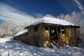 Dilapidated house old captured during winter beautiful sky background captured on a sunny winter day Royalty Free Stock Photo