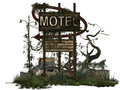 Dilapidated motel sign overgrown in run down area with car in d Royalty Free Stock Images