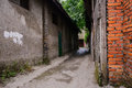 Dilapidated old alley chengdu china a narrow between brick buildings Royalty Free Stock Photo