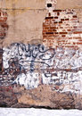 Dilapidated wall background wall paint graffiti Royalty Free Stock Image