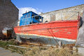Dilapidated wooden boat at burghead harbour highlands of scotland Royalty Free Stock Image