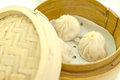 Dim sum in bamboo basket Royalty Free Stock Image