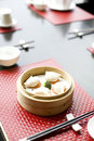 Dim sum in bamboo basket Stock Photo