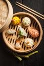 Dim Sum dumplings. Chinese traditional food Royalty Free Stock Photo