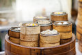 Dim sum steamers at a Chinese restaurant, Hong Kong Royalty Free Stock Photo