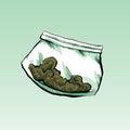 Dime bag a plastic cartoon filled with marijuana Royalty Free Stock Photography