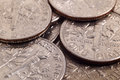 Dime many one coins extra close up Royalty Free Stock Photo