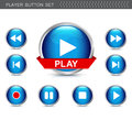 Dimensional button collection video player Royalty Free Stock Photo
