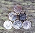 Dimes stacked in a triangle Royalty Free Stock Photography