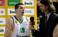 Dimitris diamantidis of panathinaikos interviewed after a euroleague match against fc barcelona regal at the palau blaugrana on Stock Photography