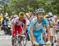 Dimitry muravyev climbing alpe d huez france july the kazakh cyclist from astana team the difficult road to during the Stock Image