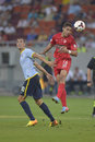 Dinamo bucharest steaua bucharest romanian football derby s stefan nikolić l and s alexandre durimel r pictured in action during Royalty Free Stock Photography