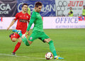 Dinamo bucharest steaua bucharest romanian league s goalkeeper ciprian tatarusanu and s cosmin matei pictured in action during the Stock Photography