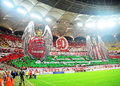 Dinamo bucharest steaua bucharest romanian league supporters display a d choregoraphy dedicated to their symbol players catalin Stock Photography