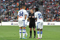 Dinamo players speaking with referee during the match between shakhtar donetsk city ukraine vs kiev premier league rd round Royalty Free Stock Image
