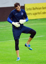 Dinamo tbilisi training before cl game against steaua bucharest s goalkeeper giorgi loria pictured during the official held Stock Image