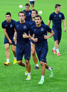 Dinamo tbilisi training before cl game against steaua bucharest s players pictured during the official held champions league Stock Photos