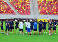Dinamo tbilisi training before cl game against steaua bucharest s players and staff pictured during the official held champions Royalty Free Stock Image