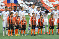 Dinamo team during the match between shakhtar donetsk city ukraine vs kiev premier league rd round august donetsk donbass Royalty Free Stock Photos