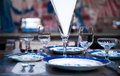 Dine set high end dining on table Stock Photos