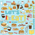 Diner Food Doodles Vector Illu...