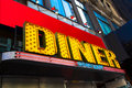 Diner vibrant and colorful retro sign Royalty Free Stock Photography