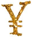 Dinero en circulación de los Yenes japoneses. Símbolo formado con las monedas Imagen de archivo libre de regalías