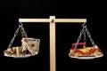 Dinero y toy wooden car Foto de archivo