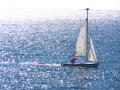 Dinghy sailing on silvery sea Royalty Free Stock Image
