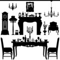Dining Area Traditional Old Antique Furniture Inte Stock Photography