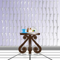 Dining composition on a decorative table, against the background of wallpaper with decorative weaving. Vector illustration.