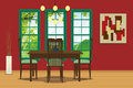 Dining room interior with table, chair, hanging lamp and wall decoration.Vector illustration.