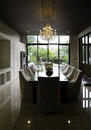 Dining room in luxury home interior Stock Images