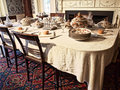 Dining room table ready for a meal Royalty Free Stock Image