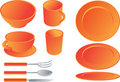 Dining set illustration Stock Photo