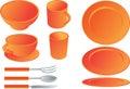 Dining set illustration Stock Photo