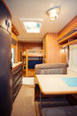 Dining space in modern motorhome a Royalty Free Stock Image