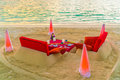 Dining table on beach at tropical Maldives island Royalty Free Stock Photo