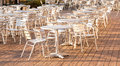Dining table and chairs for outdoors restaurants Royalty Free Stock Image