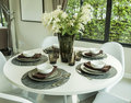 Dining table and in modern dining room Royalty Free Stock Photo