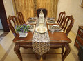 Dining table a modern indoor Royalty Free Stock Photography