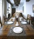 Dining table rustic style d image Royalty Free Stock Photo