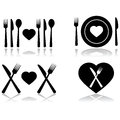 Dinner date illustration set showing four different icons symbolizing a Stock Photography