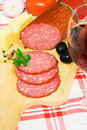 Dinner food, salami, cheese and vegetables Royalty Free Stock Photo