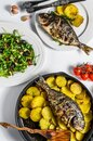 Dinner with grilled sea bream fish, arugula salad with tomatoes, baked potatoes. White background. top view Royalty Free Stock Photo