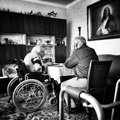 Dinner old couple at the customary daily meal Royalty Free Stock Images