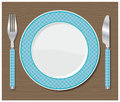 Dinner plate, knife and fork. Royalty Free Stock Photography