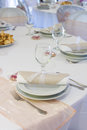 Dinner plate on table napkin light colored decoration the Stock Photos