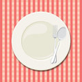 Dinner plate vector illustration of a laid table with an empty and checkered tablecloth Royalty Free Stock Image